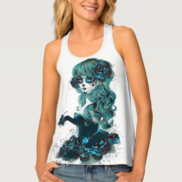 Halloween Themed Mexican Day of the Dead Sugar Skull Girl Tank Top