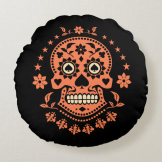 Mexican Day of the Dead Sugar Skull Round Pillow