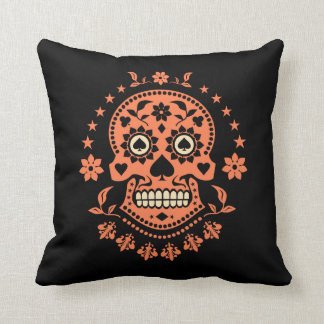 Mexican Day of the Dead Sugar Skull Throw Pillow