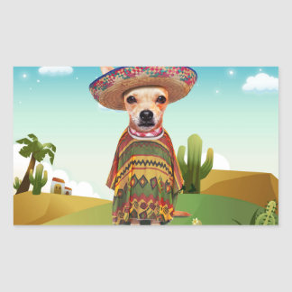 Mexican dog ,chihuahua rectangular sticker