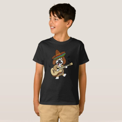 Mexican dog playing guitar T_Shirt