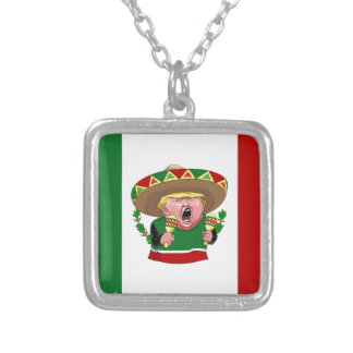 mexican donald trump silver plated necklace