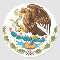 Mexican Eagle And Snake Classic Round Sticker