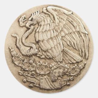 Mexican eagle classic round sticker