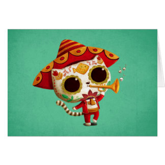 Mexican El mariachi Cute Cat Card