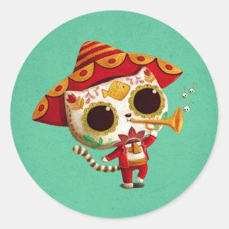 Mexican El mariachi Cute Cat Classic Round Sticker