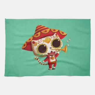 Mexican El mariachi Cute Cat Kitchen Towel