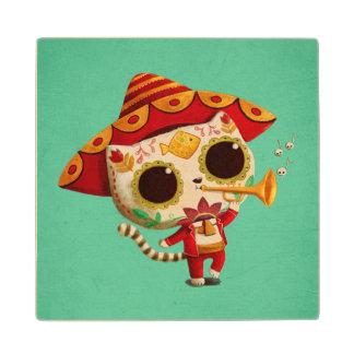 Mexican El mariachi Cute Cat Wooden Coaster