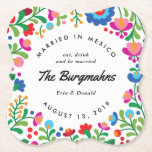 """Mexican Embroidery Colorful Custom Bar Coaster<br><div class=""""desc"""">Inspired by the colorful embroidery of native Mexican artisans this personalized paper coaster is a fun decor detail for your reception or Mexican themed fiesta. Your custom text is framed by a ring of brightly colored flowers and foliage and available in many different shapes.</div>"""
