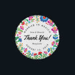 """Mexican Embroidery Colorful Party Favor Tin<br><div class=""""desc"""">Inspired by the colorful embroidery of native Mexican artisans this wedding and party favor tin can be fully personalized with the text of your choice. Great for a destination wedding or just a Mexican themed fiesta guests will love getting this cute little tin with a frame of brightly colored flowers...</div>"""
