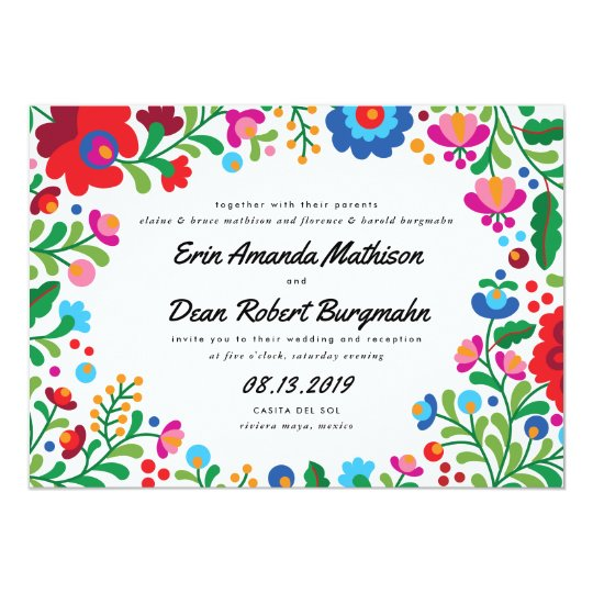 mexican wedding invitations. mexican embroidery colorful wedding invitation invitations n