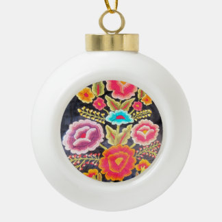 Mexican Embroidery design Ceramic Ball Christmas Ornament