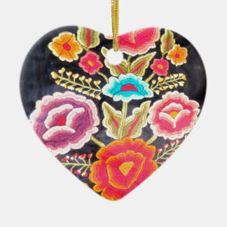Mexican Embroidery design Ceramic Ornament
