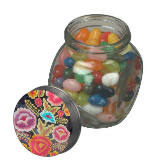 Mexican Embroidery design Glass Candy Jars