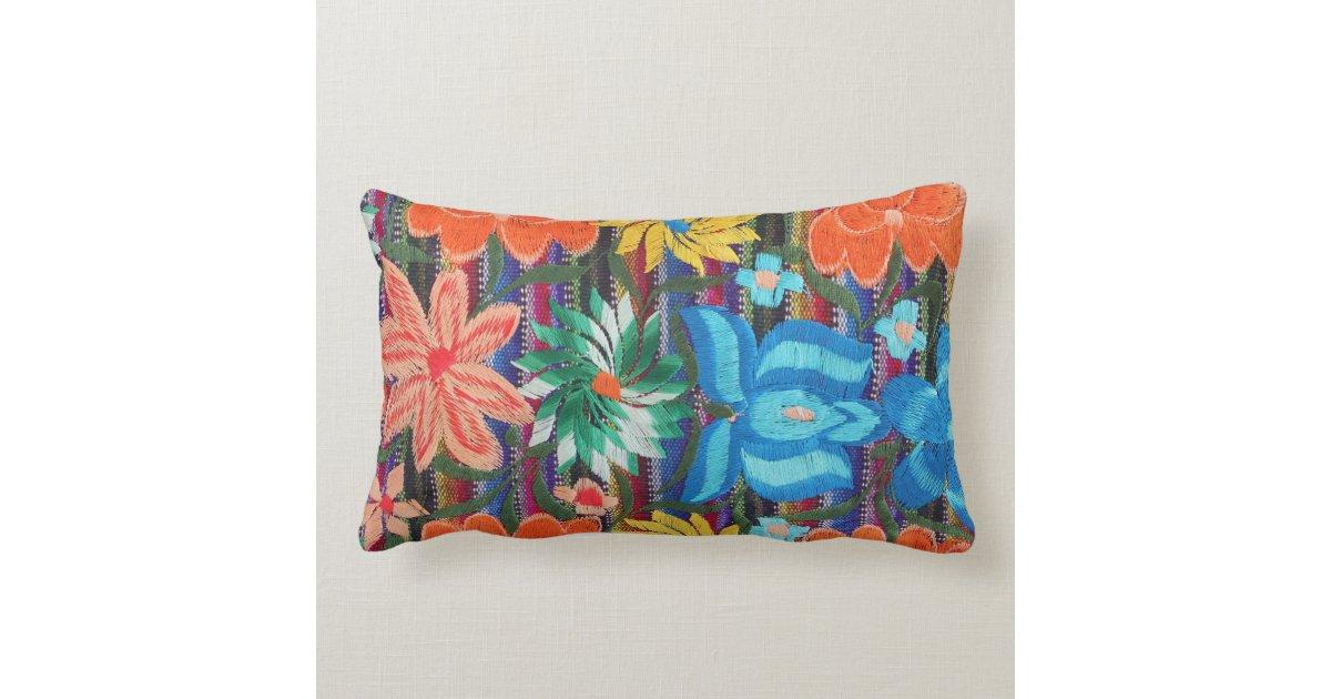 Mexican Embroidery design lumbar throw pillow Zazzle