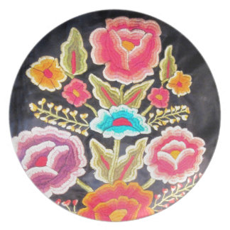 Mexican Embroidery design Melamine Plate