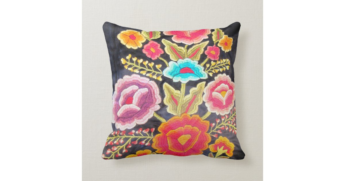 Mexican embroidery design throw pillow zazzle