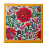 "Mexican Embroidery Flowers Kitchen Yellow Trivet<br><div class=""desc"">Inspired by hand embroidery. Change the border color using color picker tool. I have other related tiles in my shop.</div>"