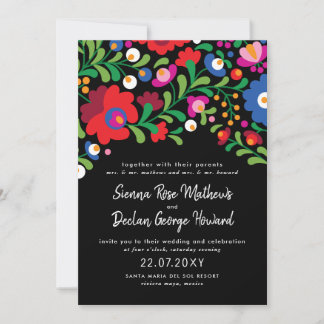 Mexican Embroidery Wedding Invitation