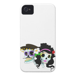 Mexican Festive Skull Couple iPhone 4 Cases