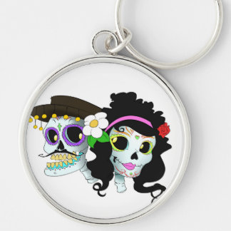 Mexican Festive Skull Couple Keychain