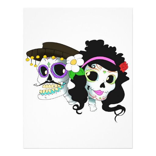 Mexican Festive Skull Couple Personalized Letterhead