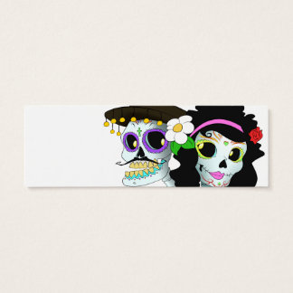 Mexican Festive Skull Couple Mini Business Card