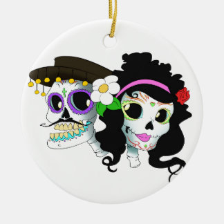 Mexican Festive Skull Couple Double-Sided Ceramic Round Christmas Ornament
