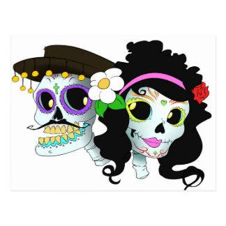 Mexican Festive Skull Couple Postcard