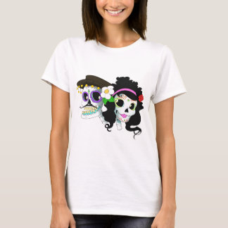 Mexican Festive Skull Couple T-Shirt