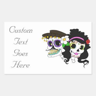 Mexican Festive Skull Rectangular Sticker