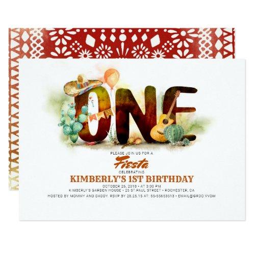 Mexican Fiesta 1st Birthday Party Invitation
