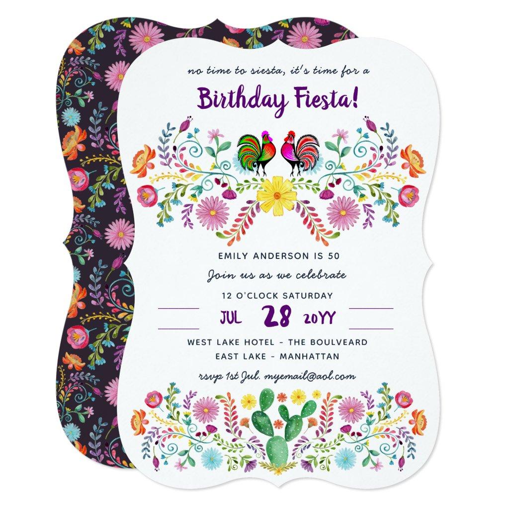 Mexican FIESTA Birthday Invitation Folk Art