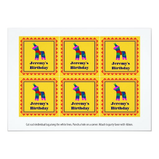Mexican Fiesta Birthday Party Favor Tags Card | Zazzle
