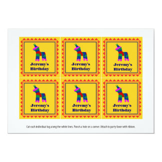 Mexican Fiesta Birthday Party Favor Tags 5x7 Paper Invitation Card