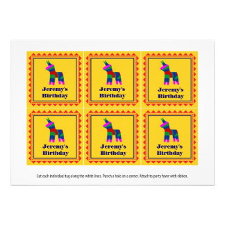 Mexican Fiesta Birthday Party Favor Tags Invites