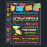 "Mexican Fiesta Birthday Party Invitation<br><div class=""desc"">Fun and Colorful Mexican Fiesta Birthday Party Celebration with papel picado banners,  a Margarita,  taco and fun fonts on a dark,  chalkboard background. Great for an adult Spanish or Mexican Themed surprise party!