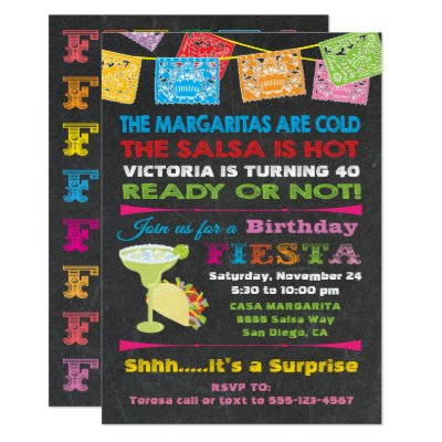 Mexican Fiesta Party Gold Glitter Card – Mexican Themed Party Invitations