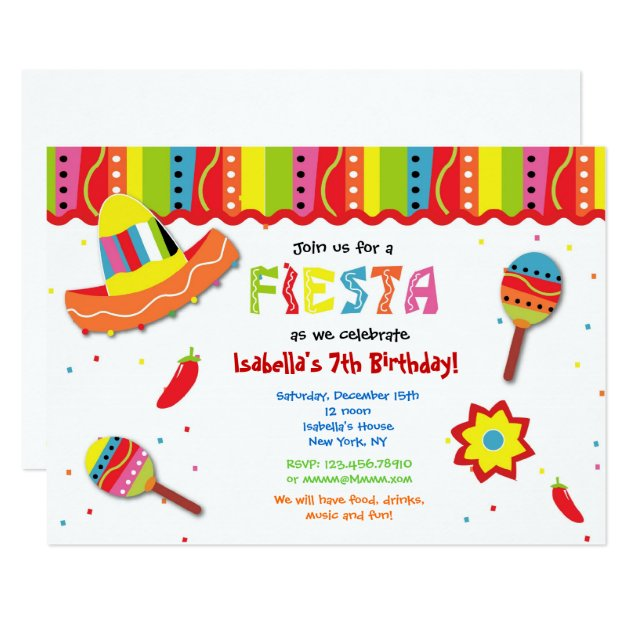 Mexican Fiesta Birthday Party Invitations | Zazzle