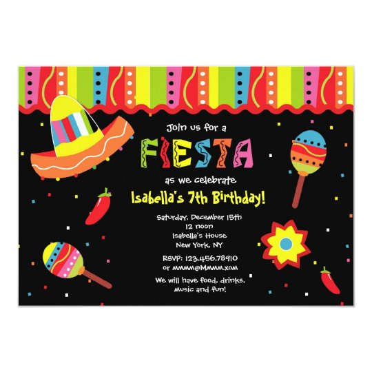 mexican fiesta birthday party invitations | zazzle, Birthday invitations