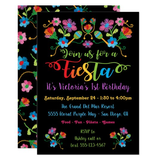 mexican fiesta birthday party with embroidery invitation zazzle com