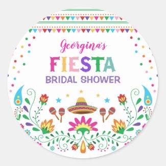 Mexican Fiesta Bridal Shower Party Decor Classic Round Sticker