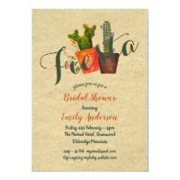Mexican Fiesta Bridal Shower Rustic Cacti Cactus Card