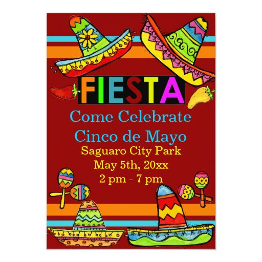 Mexican Fiesta Cinco de Mayo Invitations Red
