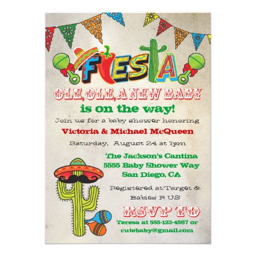 Mexican Fiesta Couples Baby Shower Invitation