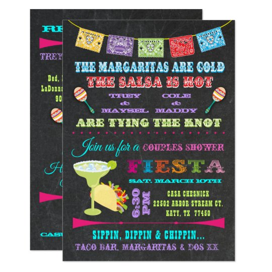 Mexican Fiesta Couples Bridal Shower Invitation Zazzle Com