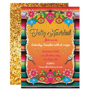 Mexican Fiesta Feliz Navidad Party Gold Glitter Card