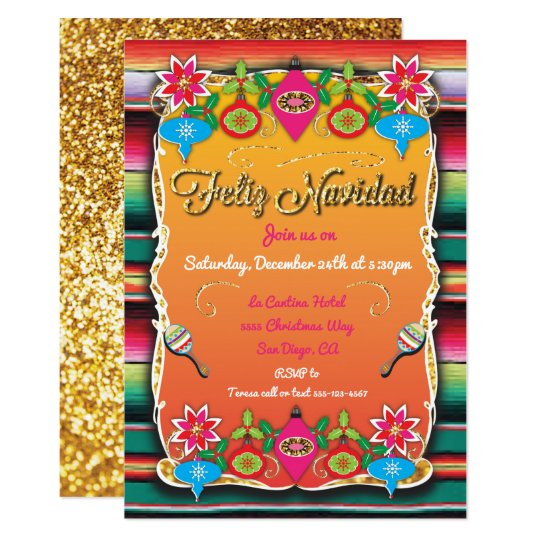 Mexican Fiesta Feliz Navidad Party Gold Glitter Invitation Zazzle Com