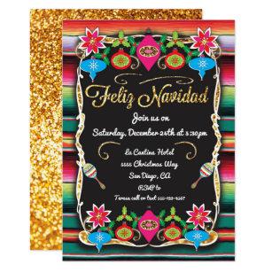 Mexican Fiesta Feliz Navidad Party Gold Glitter Invitation