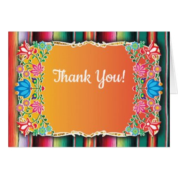 Aztec Themed Mexican Fiesta floral glitter thank you note Card